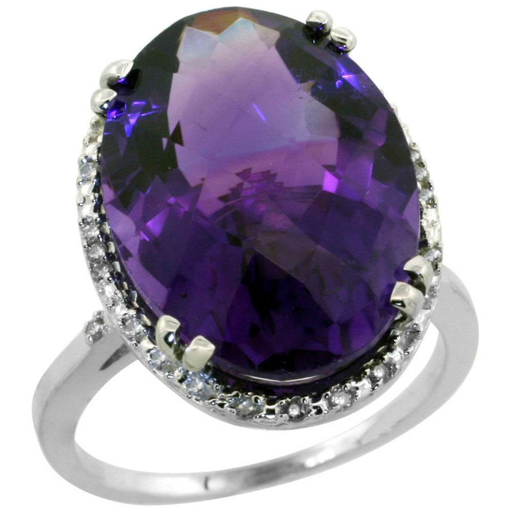14K White Gold Natural Amethyst Ring Large Oval 18x13mm Diamond Halo, sizes 5-10