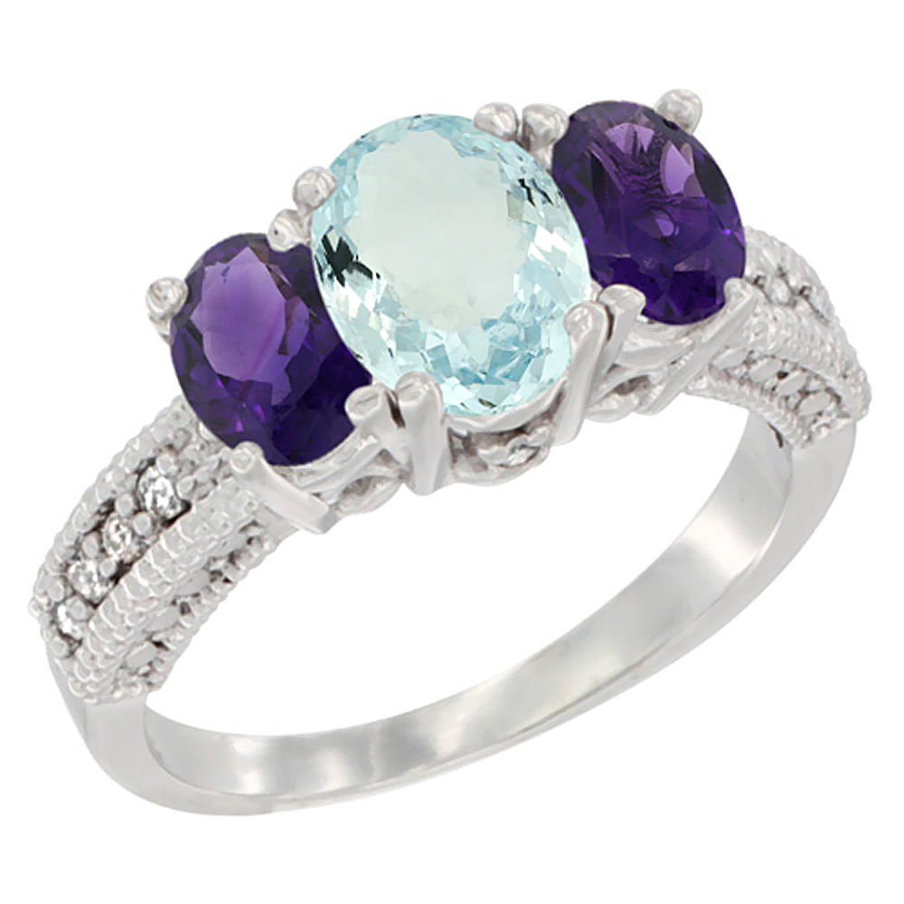 14k Yellow Gold Ladies Oval Natural Aquamariine 3-Stone Ring with Amethyst Sides Diamond Accent