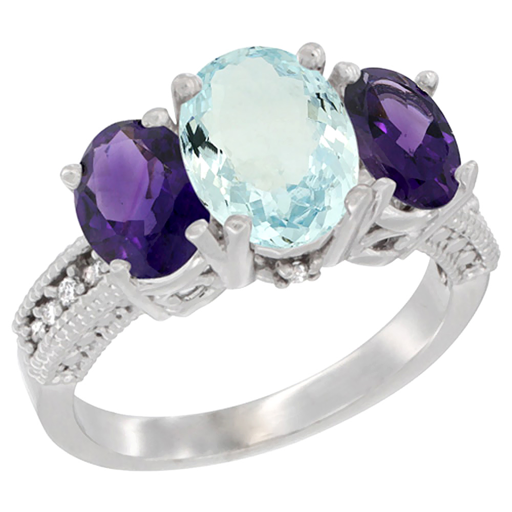 10K White Gold Natural Aquamarine Ring Ladies 3-Stone Oval 8x6mm with Amethyst Sides Diamond Accent, sizes 5 - 10