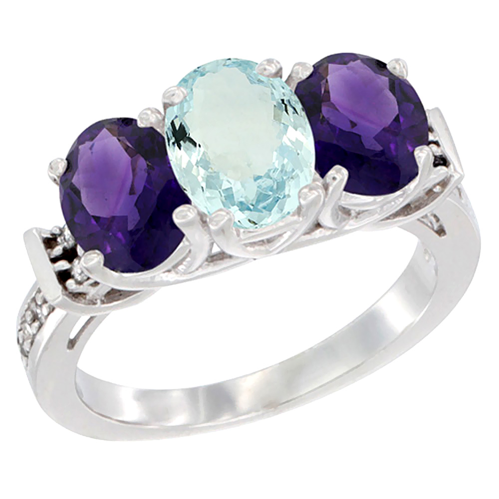 10K White Gold Natural Aquamarine & Amethyst Sides Ring 3-Stone Oval Diamond Accent, sizes 5 - 10