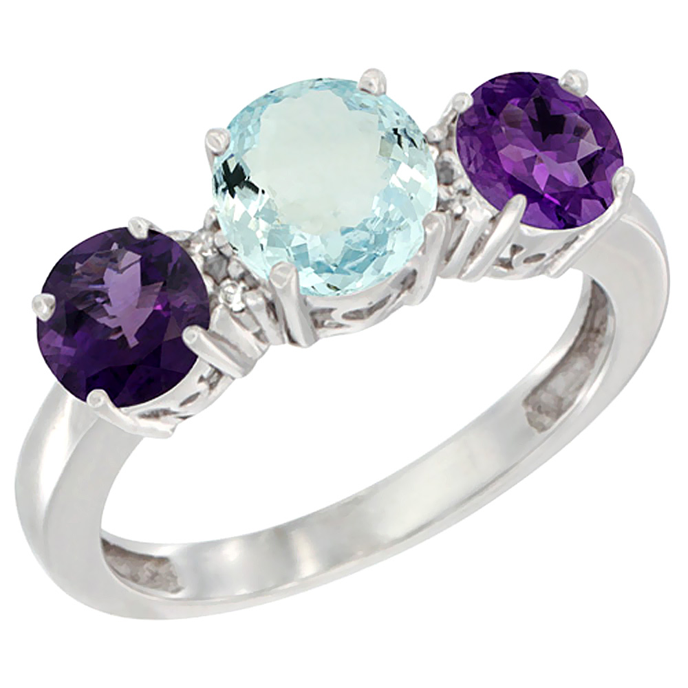 10K White Gold Round 3-Stone Natural Aquamarine Ring & Amethyst Sides Diamond Accent, sizes 5 - 10