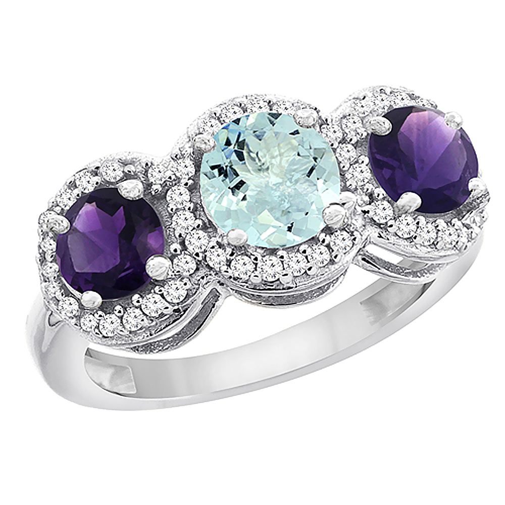 10K White Gold Natural Aquamarine & Amethyst Sides Round 3-stone Ring Diamond Accents, sizes 5 - 10