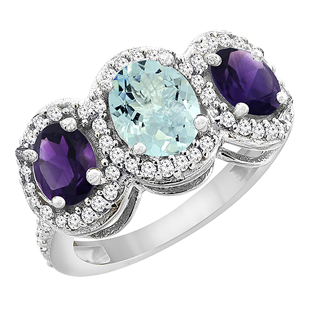 10K White Gold Natural Aquamarine & Amethyst 3-Stone Ring Oval Diamond Accent, sizes 5 - 10