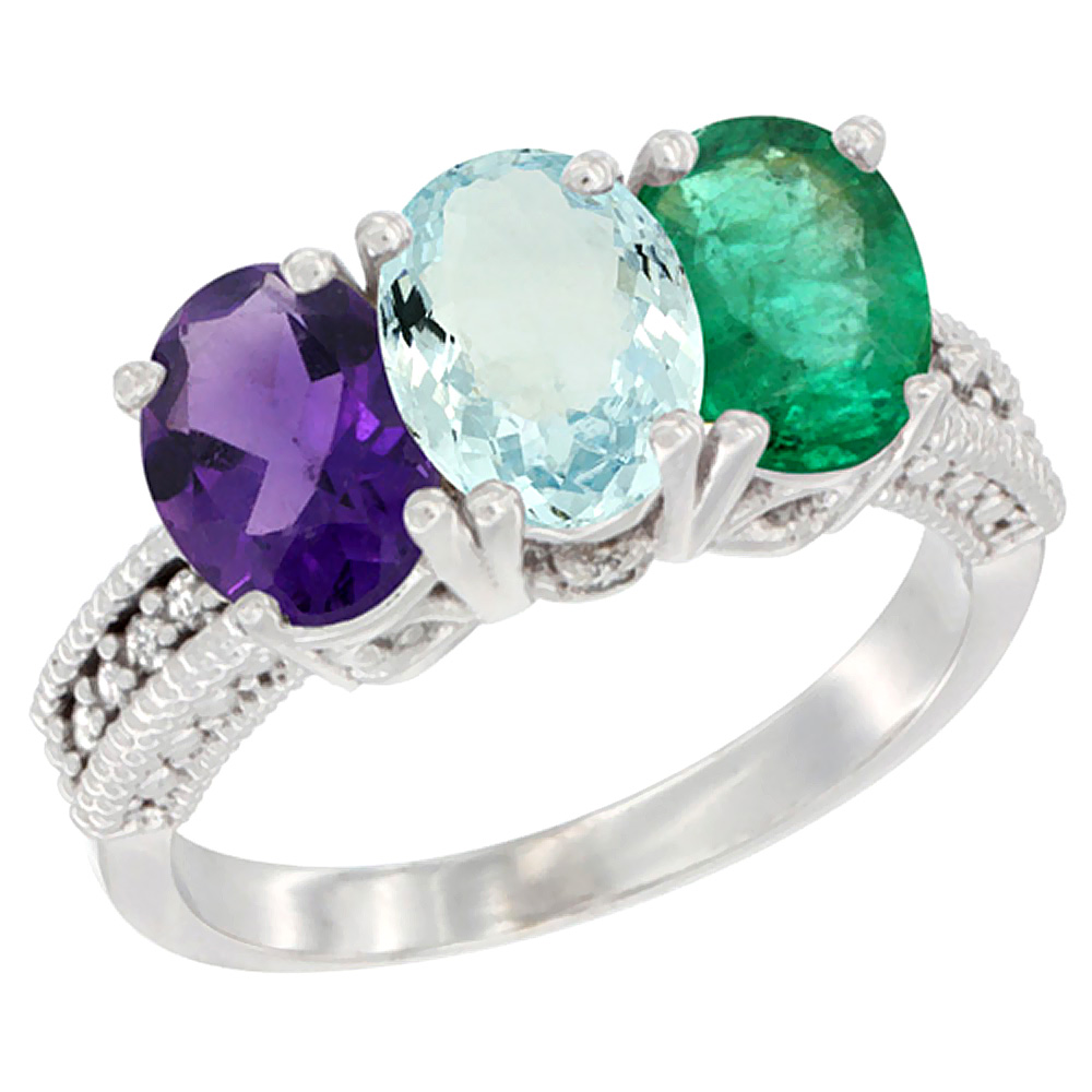 10K White Gold Natural Amethyst, Aquamarine & Emerald Ring 3-Stone Oval 7x5 mm Diamond Accent, sizes 5 - 10