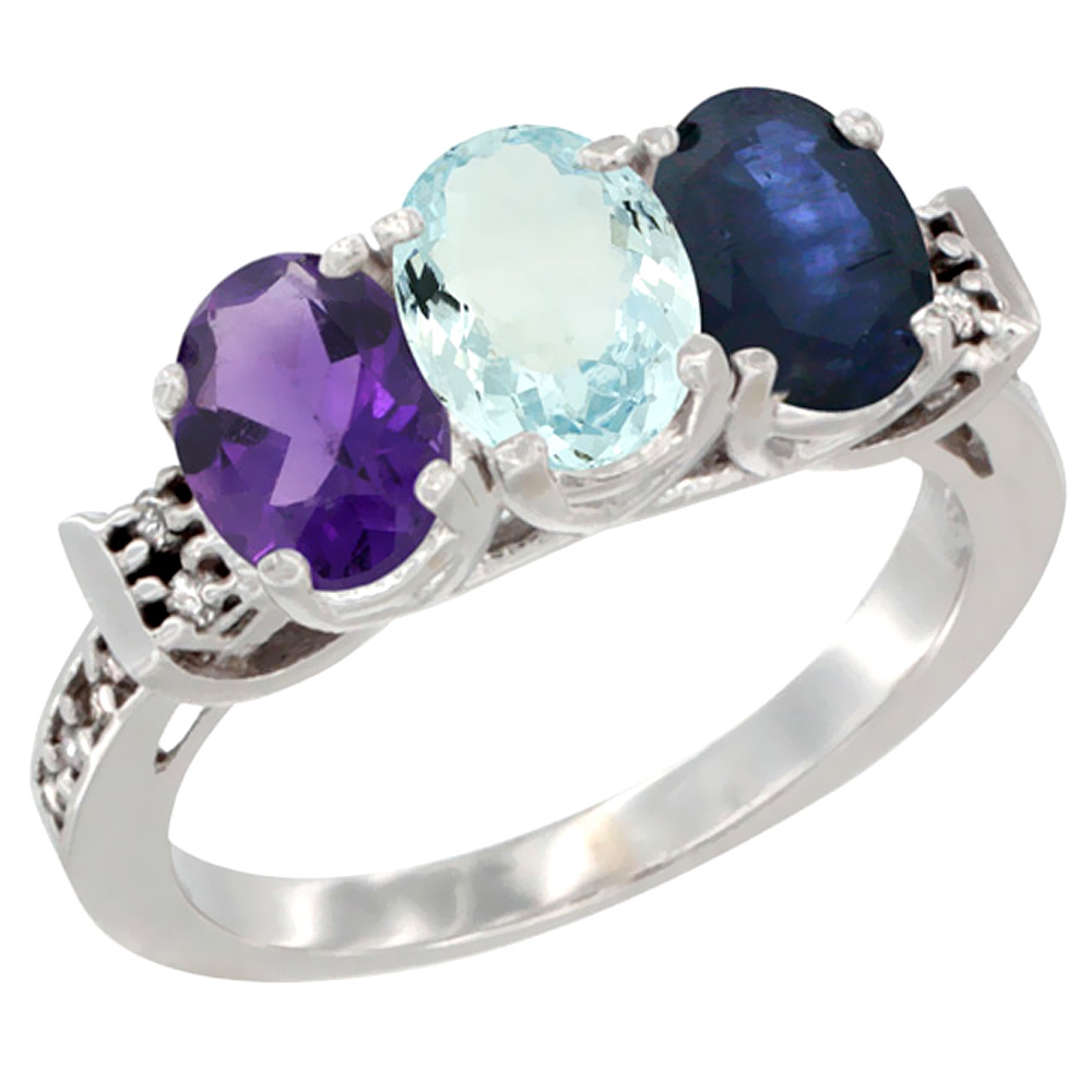 10K White Gold Natural Amethyst, Aquamarine & Blue Sapphire Ring 3-Stone Oval 7x5 mm Diamond Accent, sizes 5 - 10