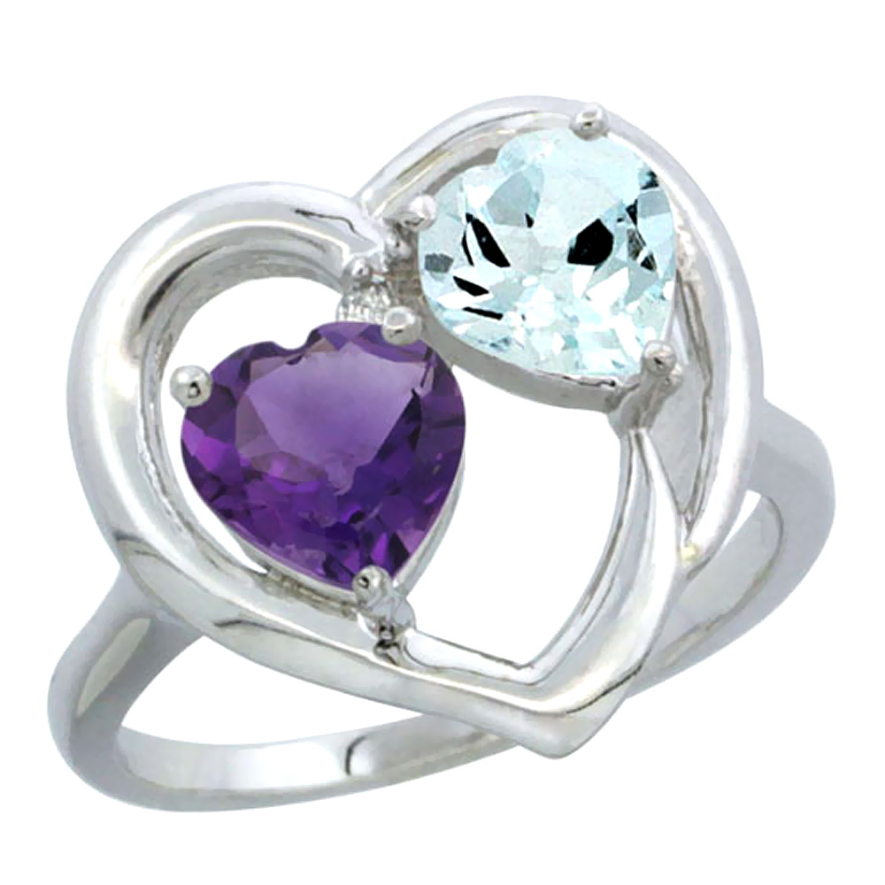 14K White Gold Diamond Two-stone Heart Ring 6mm Natural Amethyst & Aquamarine, sizes 5-10