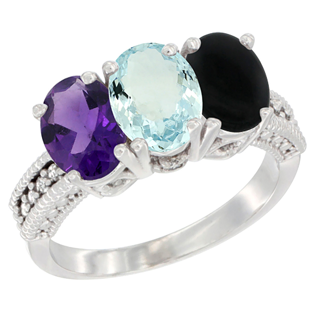 10K White Gold Natural Amethyst, Aquamarine & Black Onyx Ring 3-Stone Oval 7x5 mm Diamond Accent, sizes 5 - 10