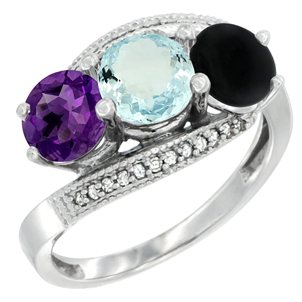 10K White Gold Natural Amethyst, Aquamarine & Black Onyx 3 stone Ring Round 6mm Diamond Accent, sizes 5 - 10