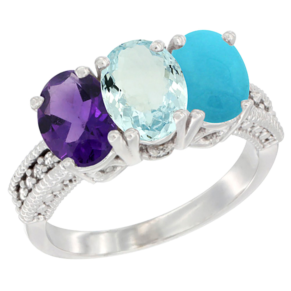 10K White Gold Natural Amethyst, Aquamarine & Turquoise Ring 3-Stone Oval 7x5 mm Diamond Accent, sizes 5 - 10