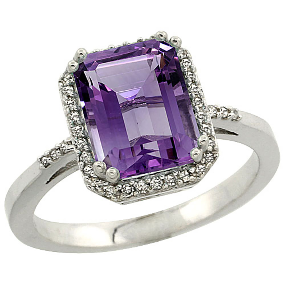 14K White Gold Diamond Natural Amethyst Ring Emerald-cut 9x7mm, sizes 5-10