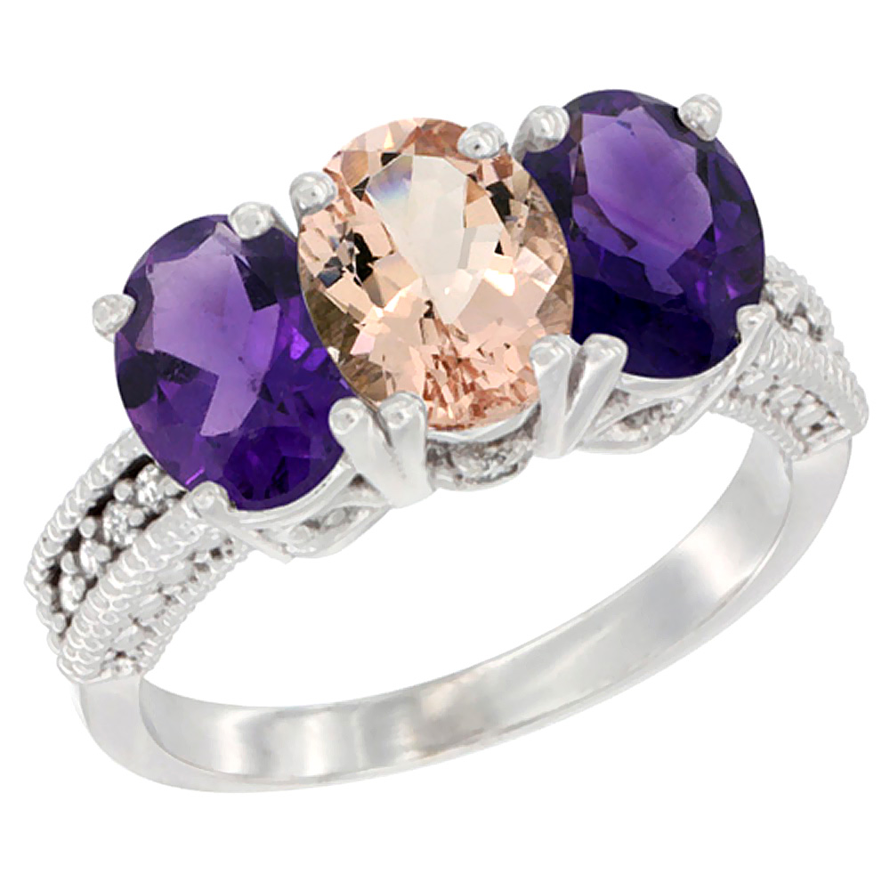 14K White Gold Natural Morganite & Amethyst Ring 3-Stone 7x5 mm Oval Diamond Accent, sizes 5 - 10
