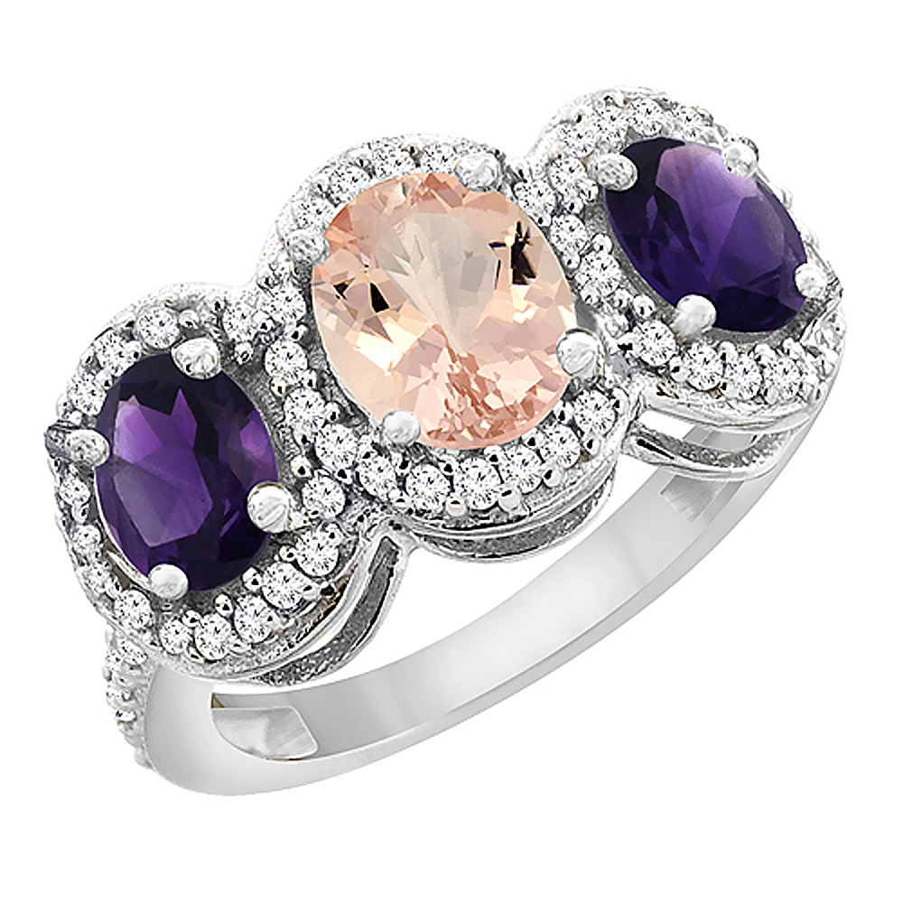 14K White Gold Natural Morganite & Amethyst 3-Stone Ring Oval Diamond Accent, sizes 5 - 10