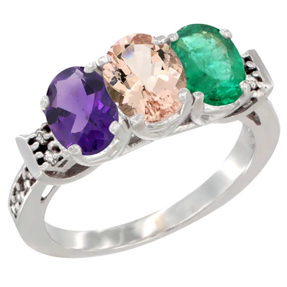 10K White Gold Natural Amethyst, Morganite & Emerald Ring 3-Stone Oval 7x5 mm Diamond Accent, sizes 5 - 10