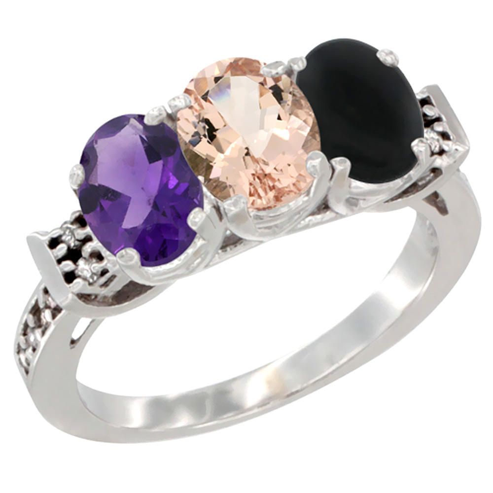 14K White Gold Natural Amethyst, Morganite & Black Onyx Ring 3-Stone 7x5 mm Oval Diamond Accent, sizes 5 - 10