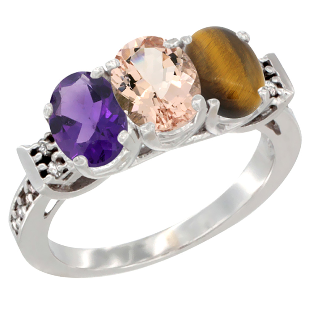 14K White Gold Natural Amethyst, Morganite & Tiger Eye Ring 3-Stone 7x5 mm Oval Diamond Accent, sizes 5 - 10
