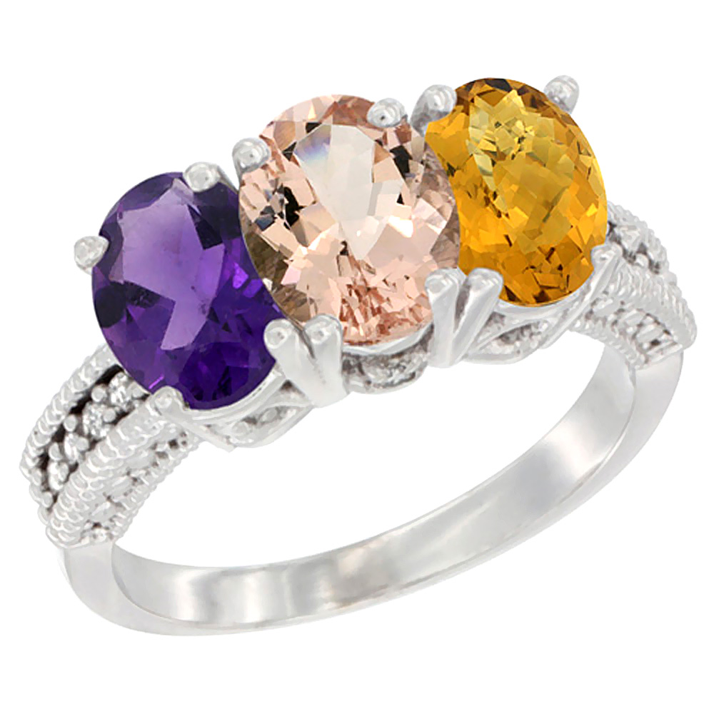 14K White Gold Natural Amethyst, Morganite & Whisky Quartz Ring 3-Stone 7x5 mm Oval Diamond Accent, sizes 5 - 10