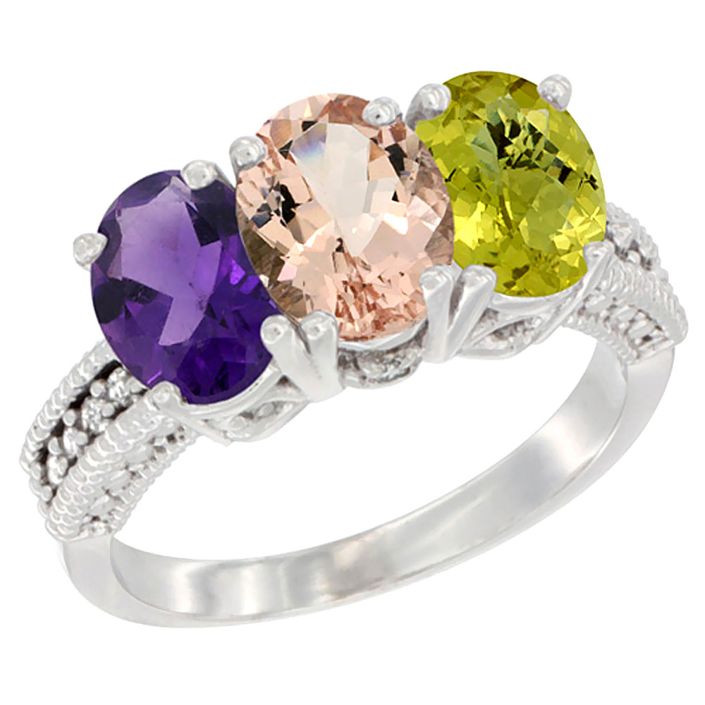 14K White Gold Natural Amethyst, Morganite & Lemon Quartz Ring 3-Stone 7x5 mm Oval Diamond Accent, sizes 5 - 10