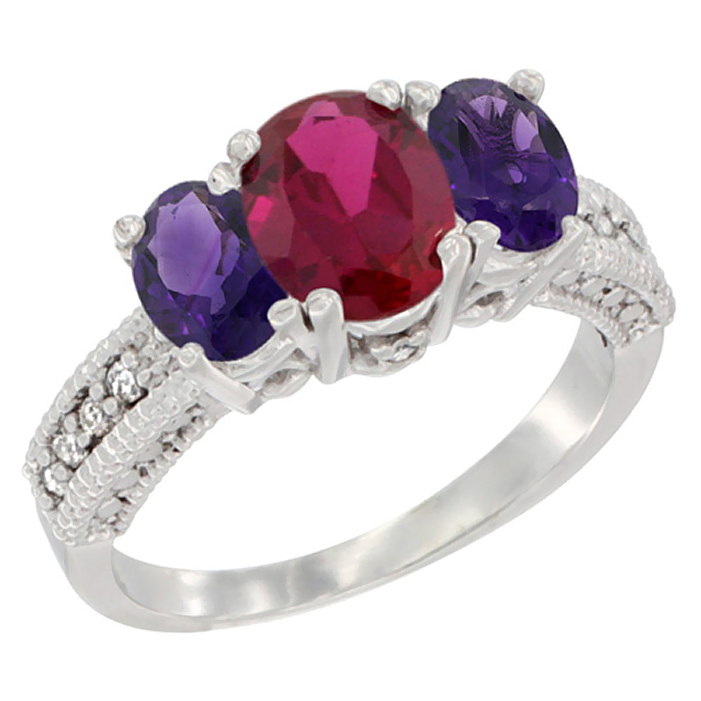 14K White Gold Diamond Enhanced Ruby Ring Oval 3-stone with Amethyst, sizes 5 - 10