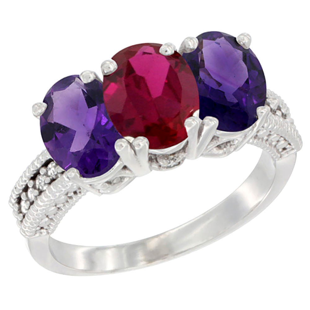 14K White Gold Enhanced Ruby & Natural Amethyst Ring 3-Stone 7x5 mm Oval Diamond Accent, sizes 5 - 10
