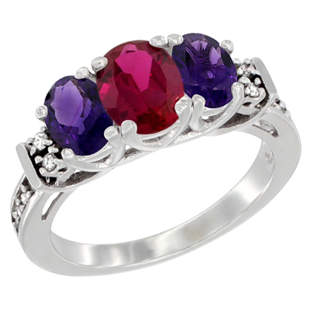 14K White Gold Enhanced Ruby & Natural Amethyst Ring 3-Stone Oval Diamond Accent, sizes 5-10