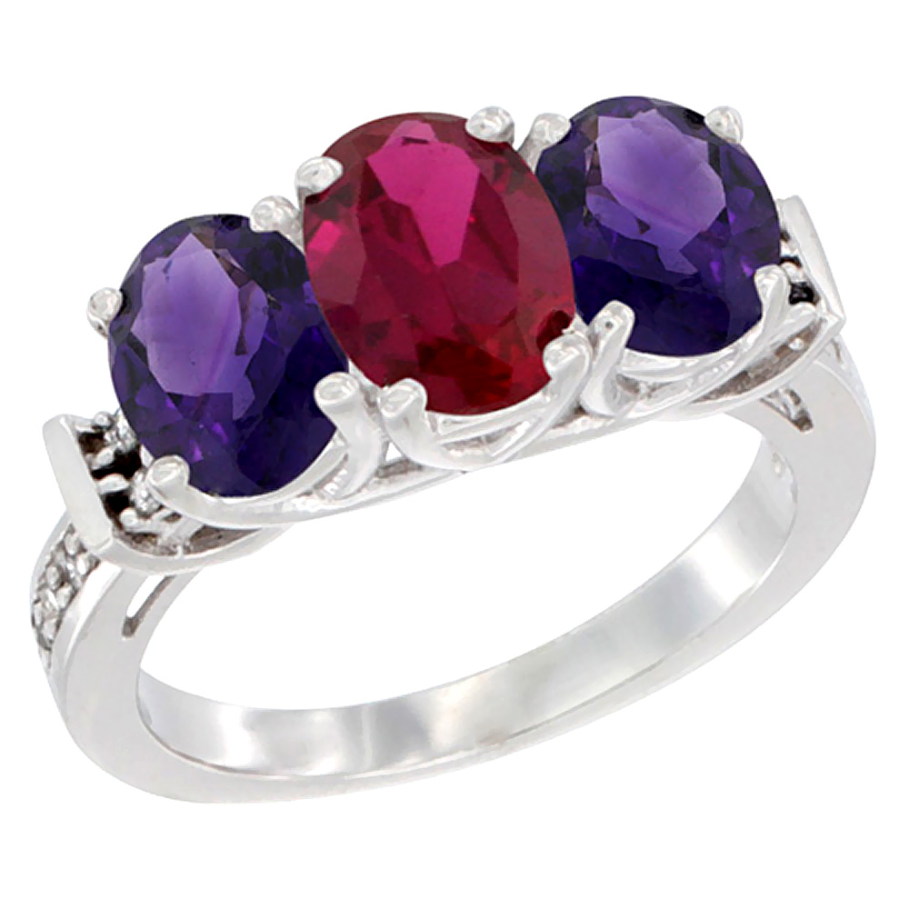14K White Gold Enhanced Ruby & Amethyst Sides Ring 3-Stone Oval Diamond Accent, sizes 5 - 10