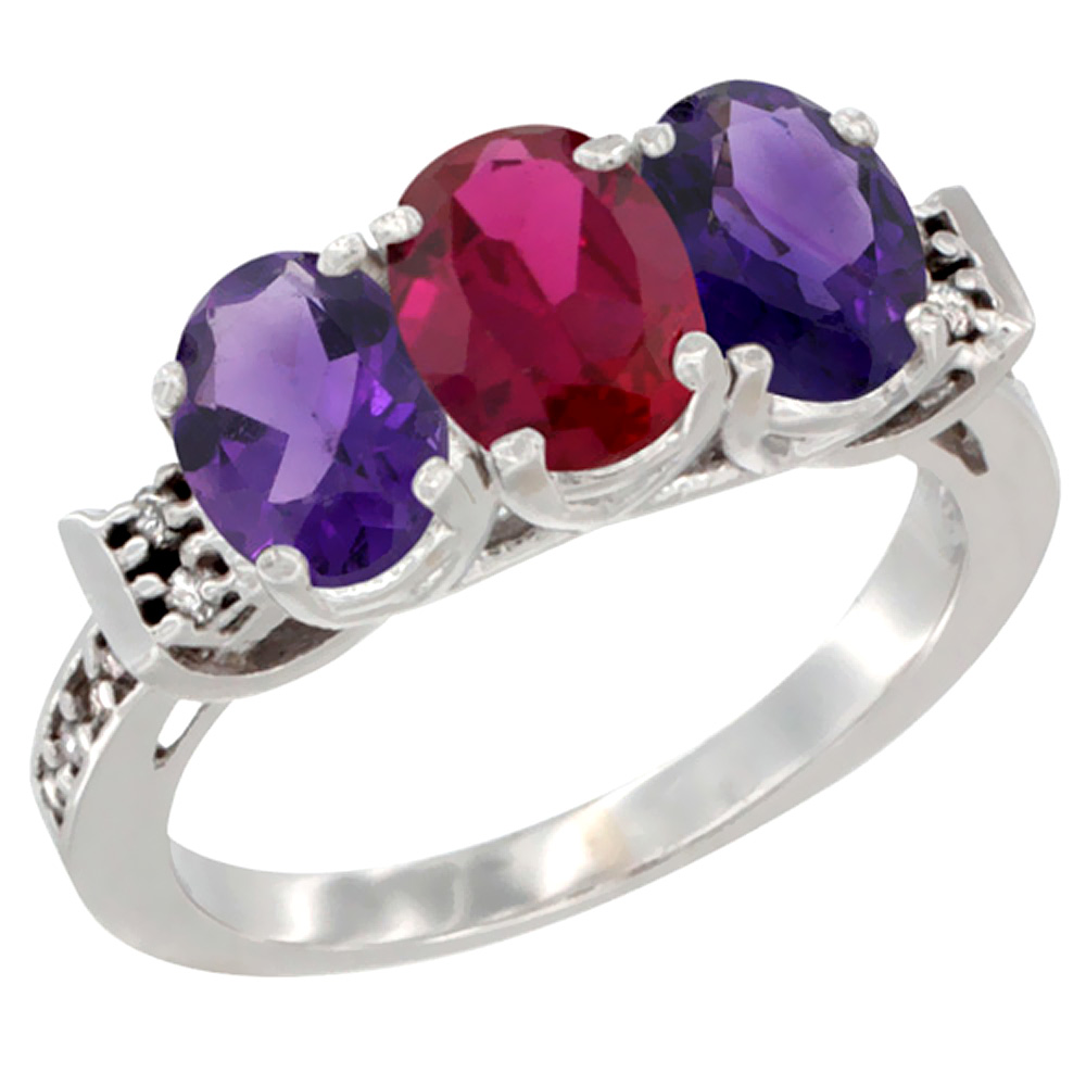 14K White Gold Enhanced Ruby & Natural Amethyst Sides Ring 3-Stone 7x5 mm Oval Diamond Accent, sizes 5 - 10