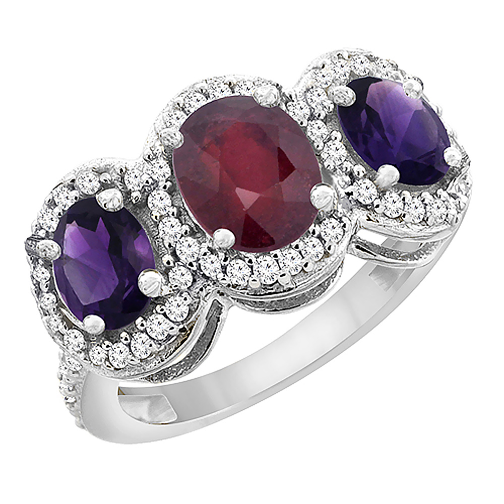 14K White Gold Enhanced Ruby & Natural Amethyst 3-Stone Ring Oval Diamond Accent, sizes 5 - 10