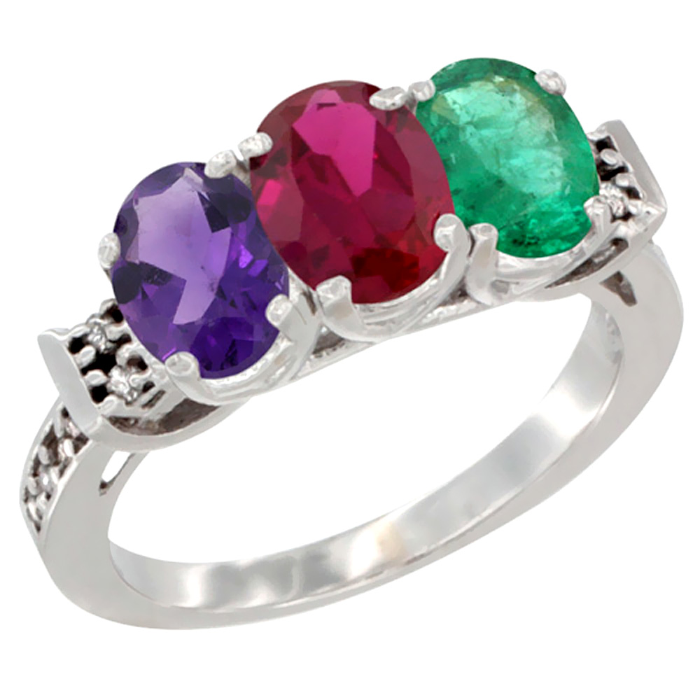 14K White Gold Natural Amethyst, Enhanced Ruby & Natural Emerald Ring 3-Stone 7x5 mm Oval Diamond Accent, sizes 5 - 10