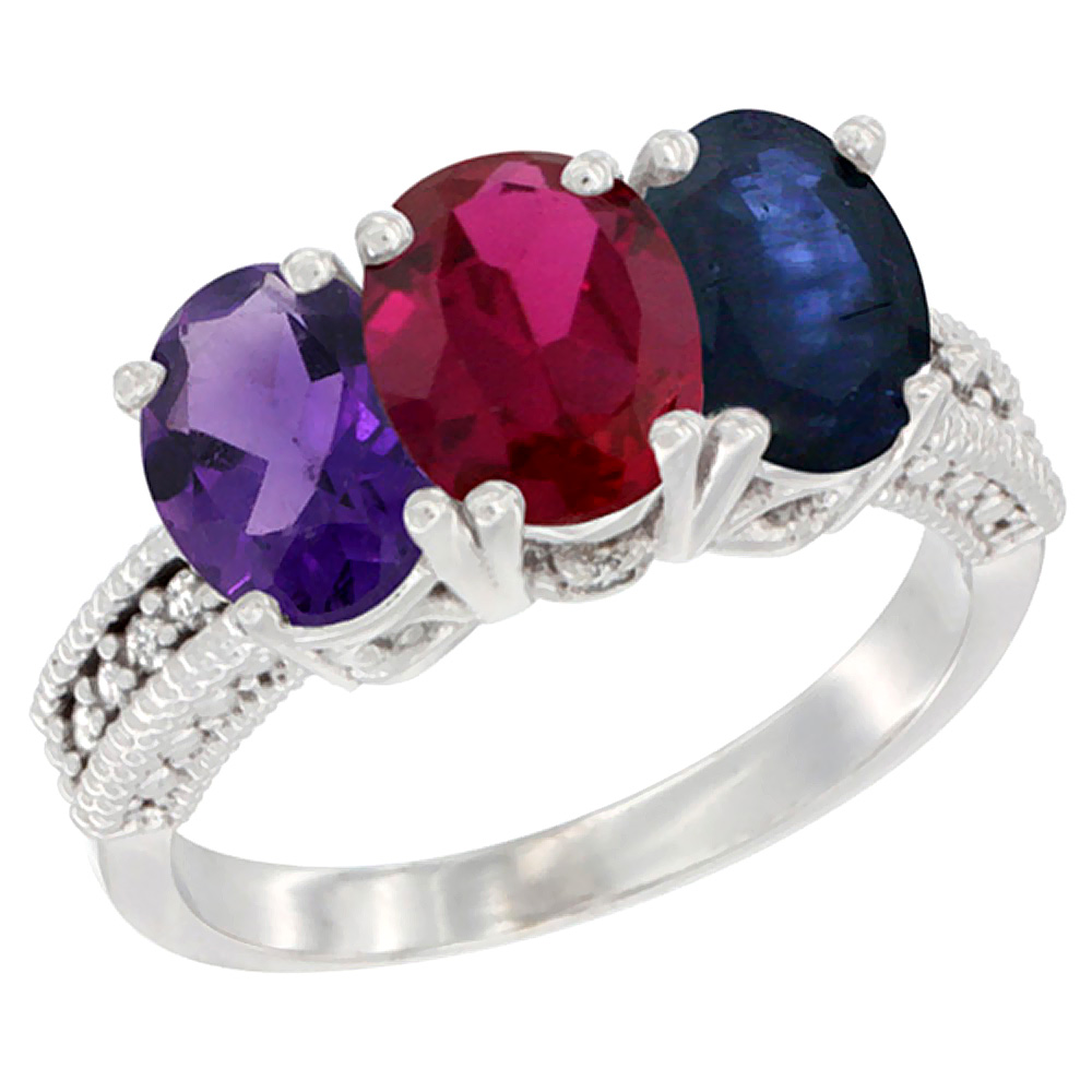 14K White Gold Natural Amethyst, Enhanced Ruby & Natural Blue Sapphire Ring 3-Stone 7x5 mm Oval Diamond Accent, sizes 5 - 10