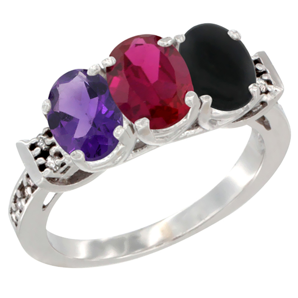 14K White Gold Natural Amethyst, Enhanced Ruby & Natural Black Onyx Ring 3-Stone 7x5 mm Oval Diamond Accent, sizes 5 - 10