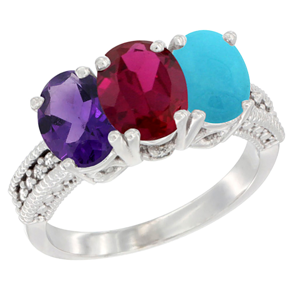 14K White Gold Natural Amethyst, Enhanced Ruby & Natural Turquoise Ring 3-Stone 7x5 mm Oval Diamond Accent, sizes 5 - 10