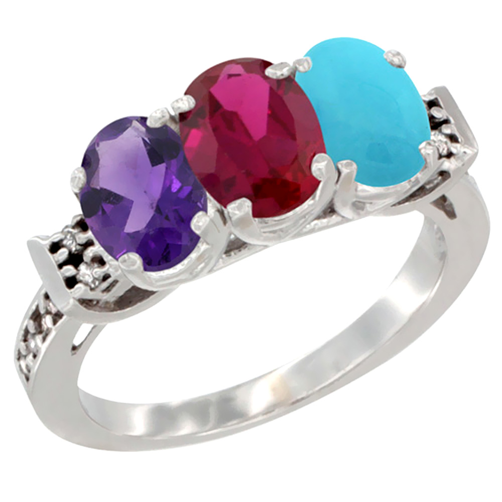 10K White Gold Natural Amethyst, Enhanced Ruby & Natural Turquoise Ring 3-Stone Oval 7x5 mm Diamond Accent, sizes 5 - 10