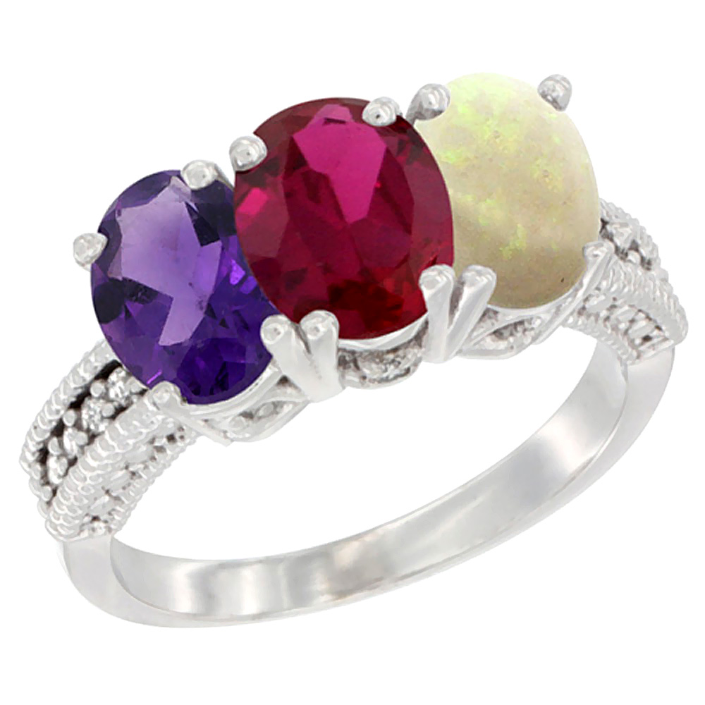14K White Gold Natural Amethyst, Enhanced Ruby & Natural Opal Ring 3-Stone 7x5 mm Oval Diamond Accent, sizes 5 - 10