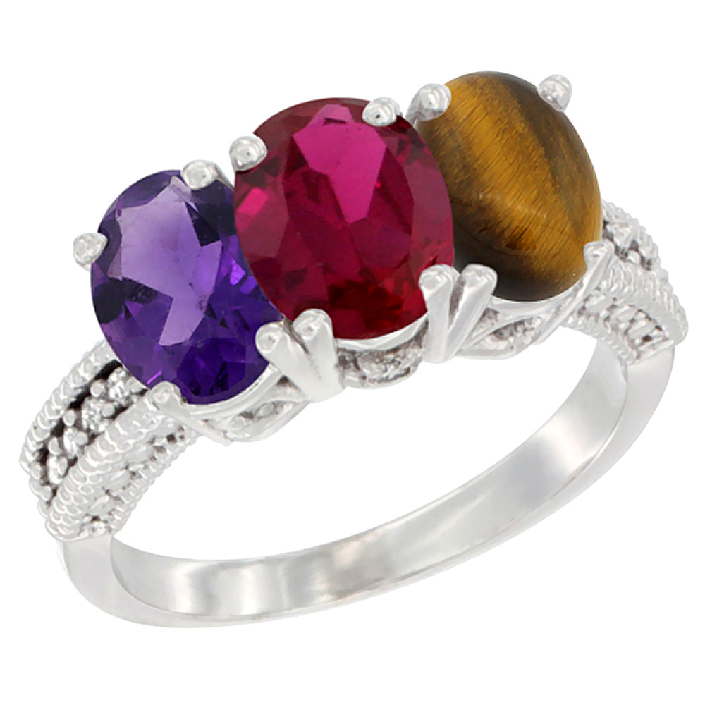 14K White Gold Natural Amethyst, Enhanced Ruby & Natural Tiger Eye Ring 3-Stone 7x5 mm Oval Diamond Accent, sizes 5 - 10