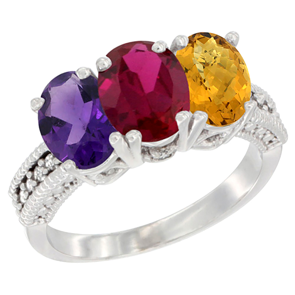 14K White Gold Natural Amethyst, Enhanced Ruby & Natural Whisky Quartz Ring 3-Stone 7x5 mm Oval Diamond Accent, sizes 5 - 10
