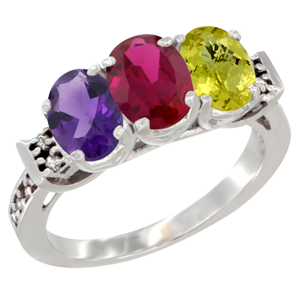 14K White Gold Natural Amethyst, Enhanced Ruby & Natural Lemon Quartz Ring 3-Stone 7x5 mm Oval Diamond Accent, sizes 5 - 10