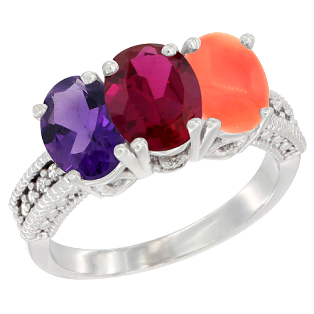 14K White Gold Natural Amethyst, Enhanced Ruby & Natural Coral Ring 3-Stone 7x5 mm Oval Diamond Accent, sizes 5 - 10