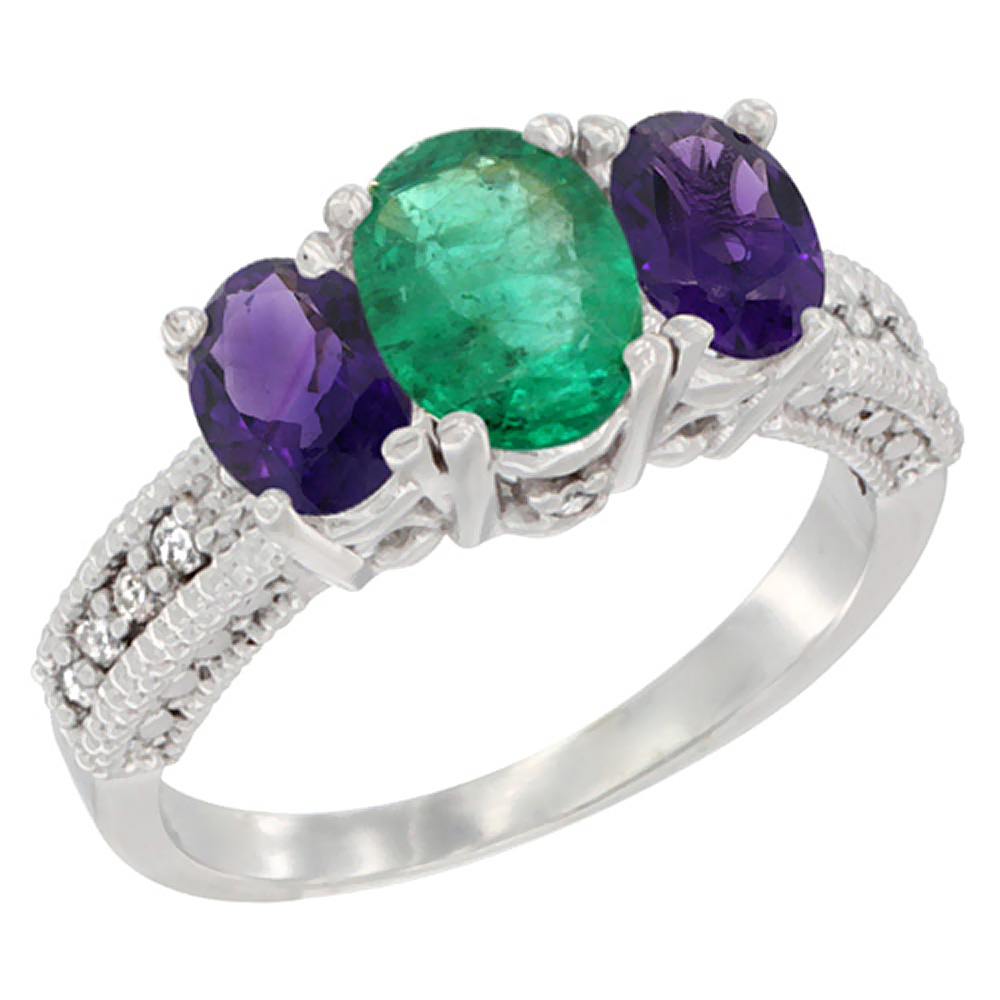 10K White Gold Diamond Natural Emerald Ring Oval 3-stone with Amethyst, sizes 5 - 10