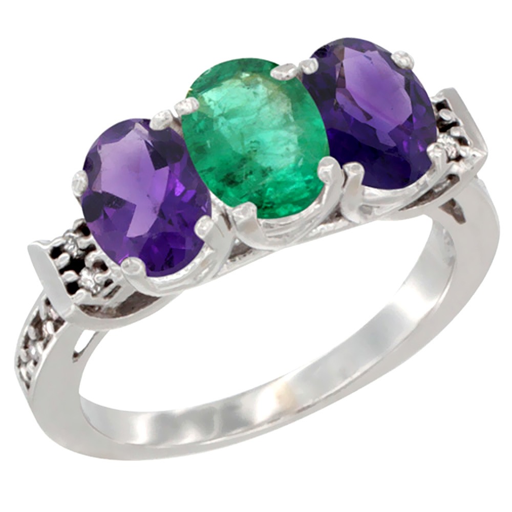 10K White Gold Natural Emerald & Amethyst Sides Ring 3-Stone Oval 7x5 mm Diamond Accent, sizes 5 - 10