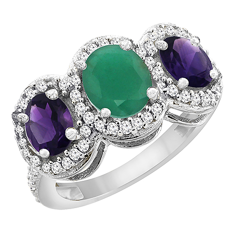 10K White Gold Natural Emerald & Amethyst 3-Stone Ring Oval Diamond Accent, sizes 5 - 10