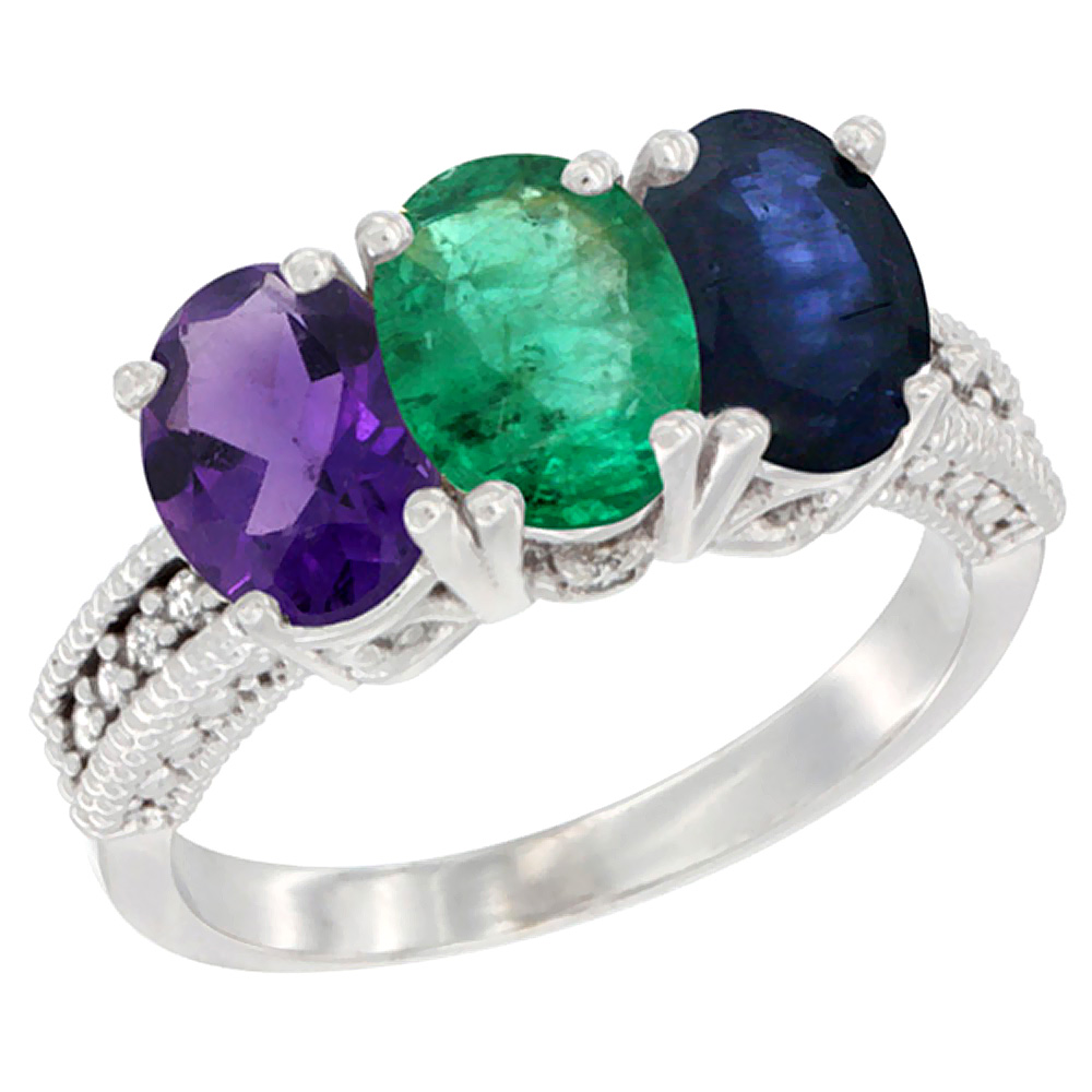 10K White Gold Natural Amethyst, Emerald & Blue Sapphire Ring 3-Stone Oval 7x5 mm Diamond Accent, sizes 5 - 10