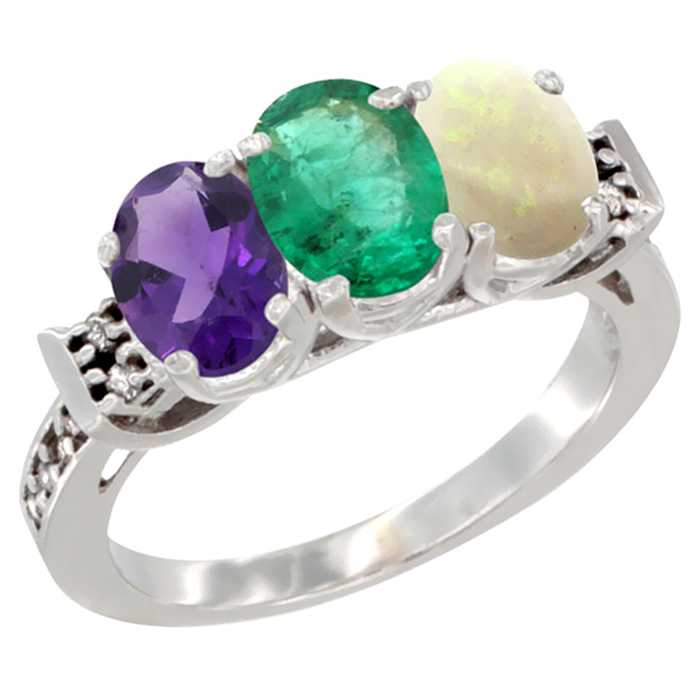 10K White Gold Natural Amethyst, Emerald & Opal Ring 3-Stone Oval 7x5 mm Diamond Accent, sizes 5 - 10