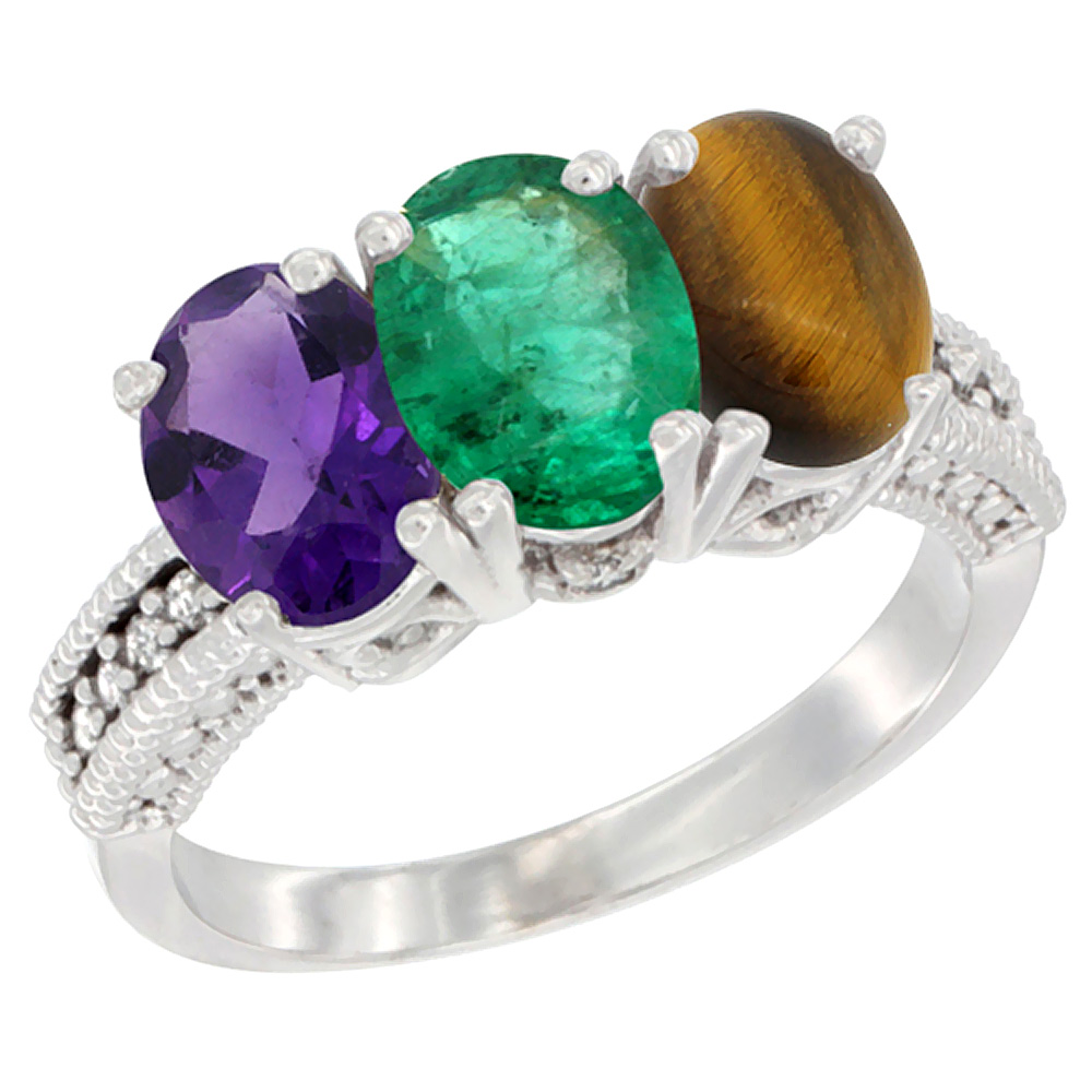 10K White Gold Natural Amethyst, Emerald & Tiger Eye Ring 3-Stone Oval 7x5 mm Diamond Accent, sizes 5 - 10