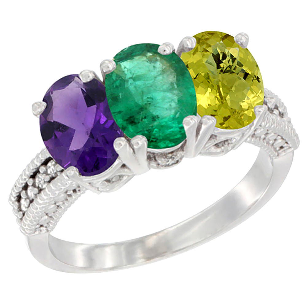 14K White Gold Natural Amethyst, Emerald & Lemon Quartz Ring 3-Stone 7x5 mm Oval Diamond Accent, sizes 5 - 10