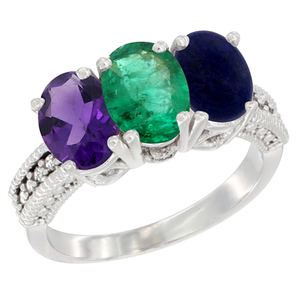 10K White Gold Natural Amethyst, Emerald & Lapis Ring 3-Stone Oval 7x5 mm Diamond Accent, sizes 5 - 10