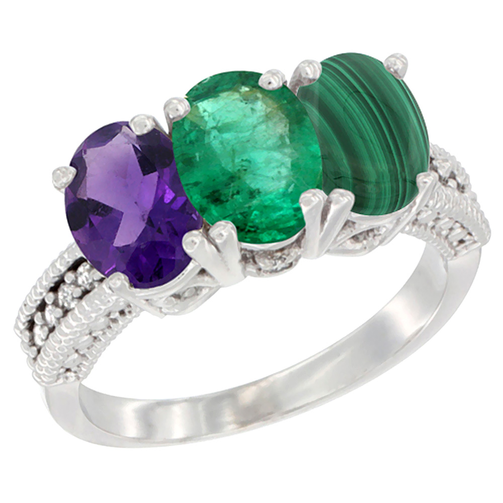 10K White Gold Natural Amethyst, Emerald & Malachite Ring 3-Stone Oval 7x5 mm Diamond Accent, sizes 5 - 10