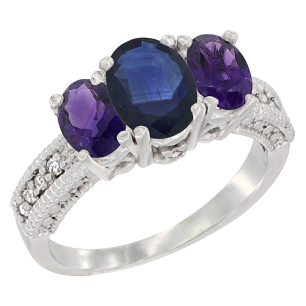 14K White Gold Diamond Natural Blue Sapphire Ring Oval 3-stone with Amethyst, sizes 5 - 10