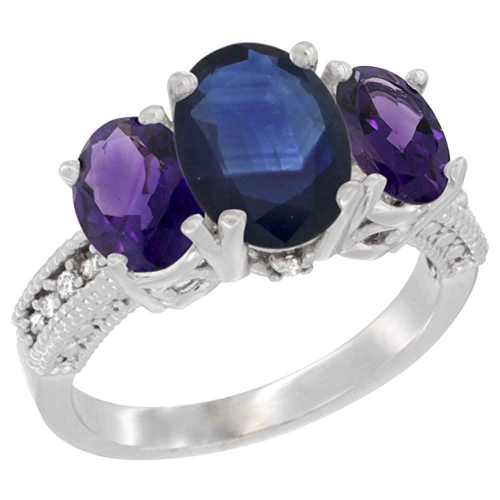 10K White Gold Natural Blue Sapphire Ring Ladies 3-Stone Oval 8x6mm with Amethyst Sides Diamond Accent, sizes 5 - 10