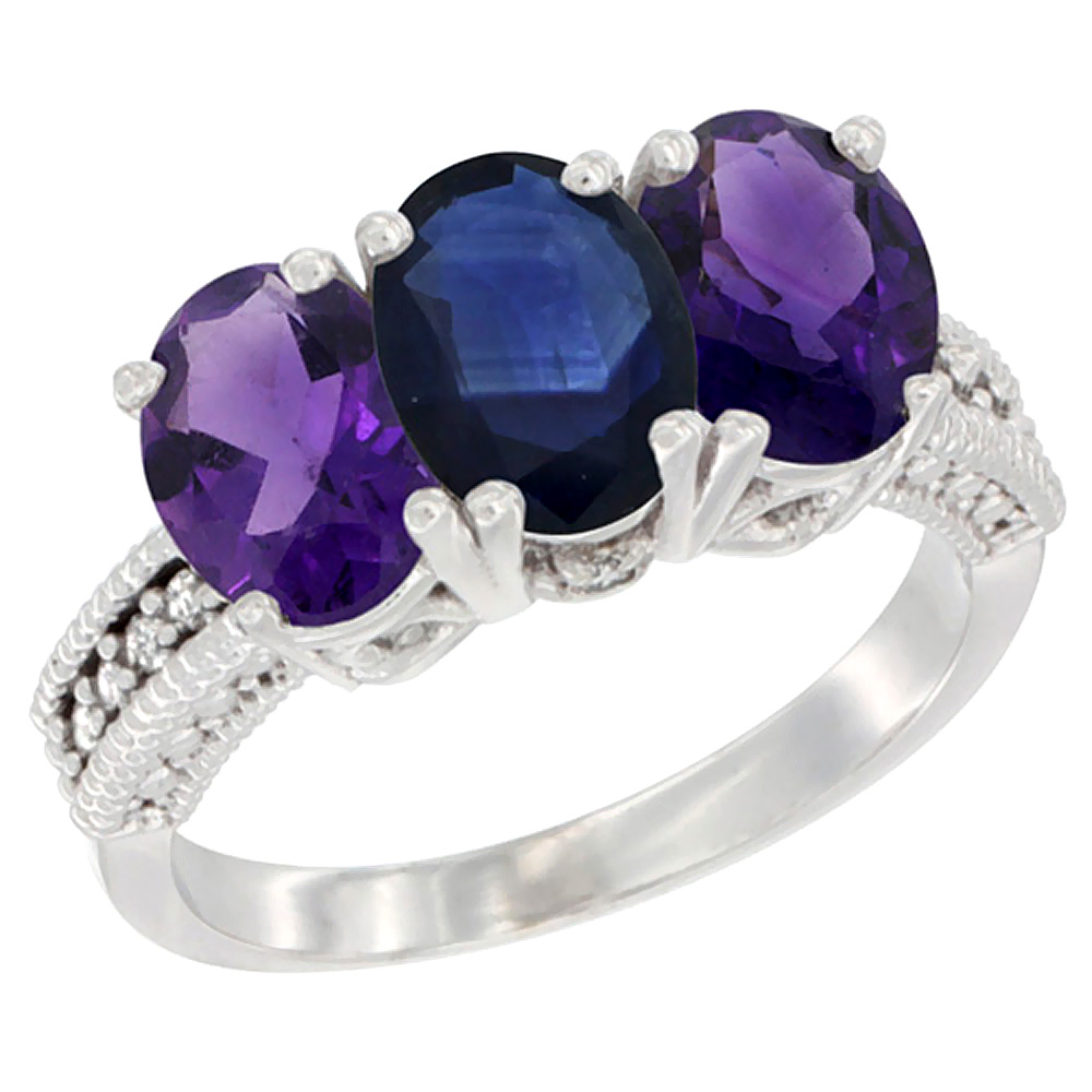 10K White Gold Natural Blue Sapphire & Amethyst Sides Ring 3-Stone Oval 7x5 mm Diamond Accent, sizes 5 - 10