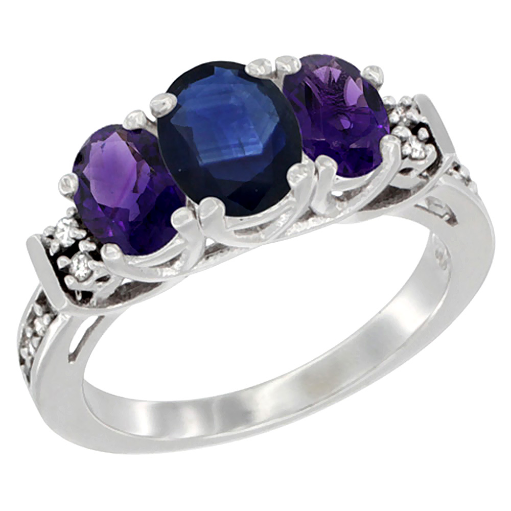 14K White Gold Natural Blue Sapphire & Amethyst Ring 3-Stone Oval Diamond Accent, sizes 5-10
